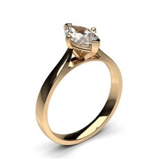 Marquise Rose Gold Classic Solitaire Diamond Engagement Rings