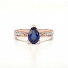 Pear Rose Gold Gemstone Engagement Rings
