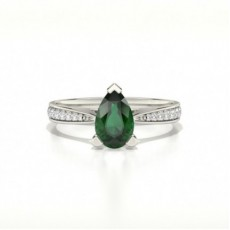 Pear Emerald Diamond Engagement Rings