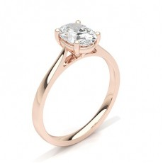 Oval Rose Gold Classic Solitaire Diamond Engagement Rings