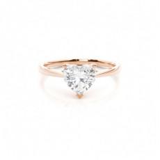 Cœur Or Rose Bague solitaire diamant