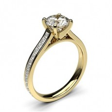 Yellow Gold Side Stone Diamond Rings