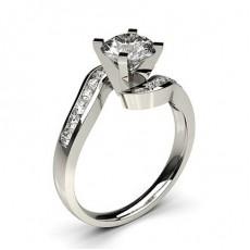 Bague en diamant solitaire épaulé diamant serti 4 griffes carrées et rail