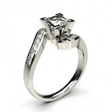 White Gold Round Side Stone Diamond Engagement Ring - CLRN353_02