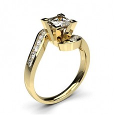White Gold Round Side Stone Diamond Engagement Ring - CLRN353_02