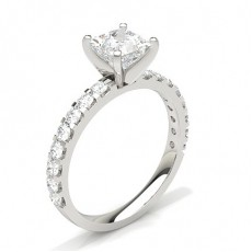 White Gold Round Side Stone Diamond Engagement Ring - CLRN354_01