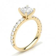 White Gold Round Side Stone Diamond Engagement Ring - CLRN354_01