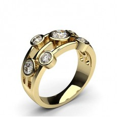 Round Yellow Gold 7 Stone Diamond Rings