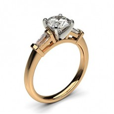 4 Prong Setting Studded Three stone Ring - CLRN357_02