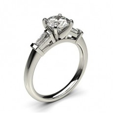 4 Prong Setting Studded Three stone Ring - HG0599_P24