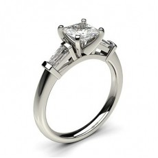 4 Prong Setting Studded Three stone Ring - HG0594_P28