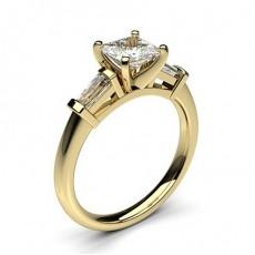 White Gold Princess Side Stone Diamond Engagement Ring - CLRN357_01