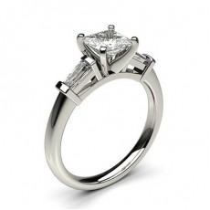 Yellow Gold Princess Side Stone Diamond Engagement Ring