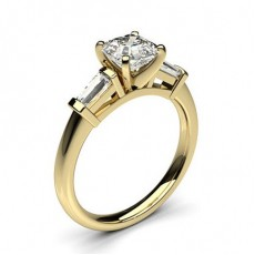 Asscher Yellow Gold Trilogy Diamond Engagement Rings