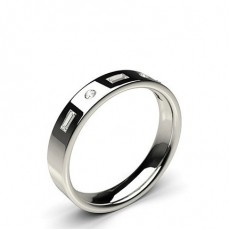 Alliance diamant rond/baguette confort profil plat serti invisible
