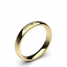 Round Yellow Gold Women's Wedding Bands