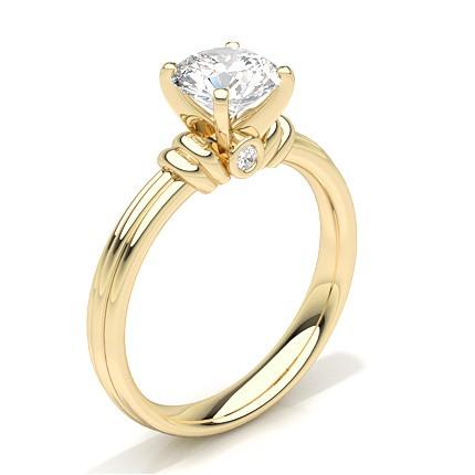 Bague de fiançailles solitaire diamant rond serti rail