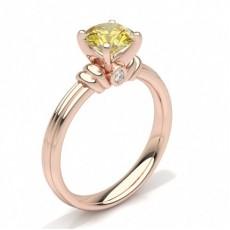 Rund Rotgold Gelber Diamant Verlobungsringe