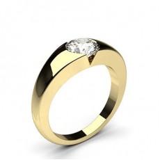 Bague de fiançailles solitaire diamant rond serti 4 griffes carrées