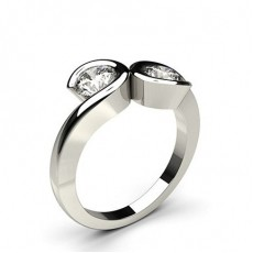 Semi Bezel Setting Plain Two Stone Ring - CLRN386_01