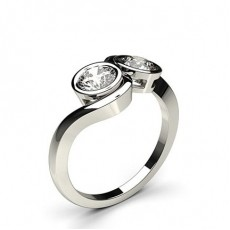 Full Bezel Setting Plain Two Stone Ring - CLRN387_01