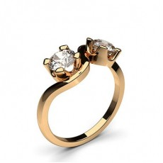 Round Rose Gold Two Stone Diamond Rings