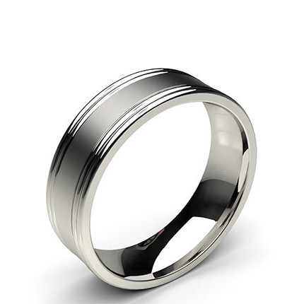 6.50mm Plain Comfort Fit Mens Grooved Wedding Band