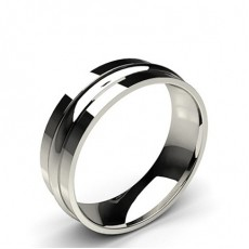 6.50mm Plain Comfort Fit Mens Grooved Wedding Band - CLRN413_01