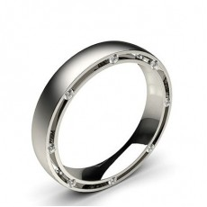 Studded Comfort Fit Mens Wedding Band in 18K White Gold - HG0532_15
