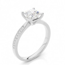 White Gold Round Side Stone Diamond Engagement Ring - CLRN426_01