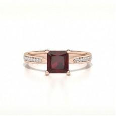 Princess Rose Gold Gemstone Engagement Rings