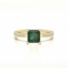 Princess Yellow Gold Gemstone Engagement Rings