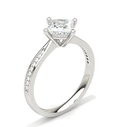 White Gold Princess Side Stone Diamond Engagement Ring