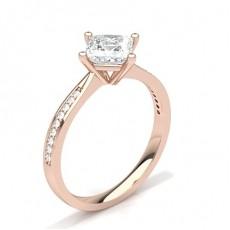 Bague de fiançailles solitaire épaulé diamant princesse serti 4 griffes et pavé - HG0600_30