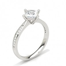 White Gold Princess Side Stone Diamond Engagement Ring - CLRN428_01