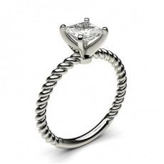Bague de fiançailles solitaire diamant serti 4 griffes carrées - CLRN432_01