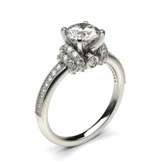 4 Prong Setting Side Stone Engagement Ring - CLRN433_01