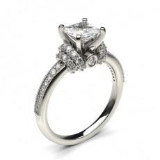 White Gold Round Side Stone Diamond Engagement Ring - CLRN433_01