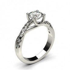 4 Prong Setting Side Stone Engagement Ring in 18K White Gold