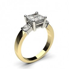 4 Prong Setting Studded Three stone Ring - CLRN440_01