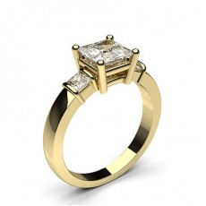 Yellow Gold Princess Trilogy Diamond Engagement Ring - CLRN440_01