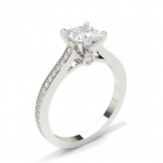 Princess Side Stone Diamond Rings