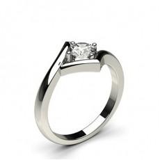 Bague en diamant solitaire diamant rond serti rail