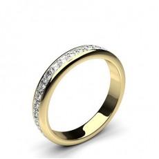 Princess Yellow Gold Full Diamond Eternity Rings