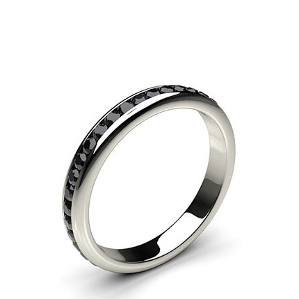 3.30mm Channel Setting Full Eternity Black Diamond Ring