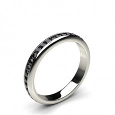 3.30mm Channel Setting Full Eternity Black Diamond Ring