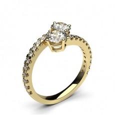Or Jaune Bague de 2 Diamants