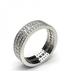 Mixed Shapes White Gold Full Diamond Eternity Rings