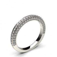 Bague demi-tour diamant rond serti pavé en 0.50ct