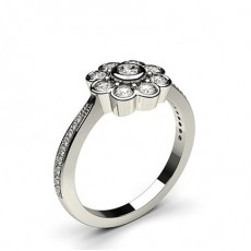 Full Bezel Setting Round Diamond Cluster Ring